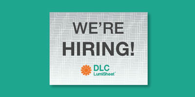 DLC LumiSheet We're Hiring Graphic